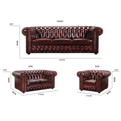 WINCHESTER Chesterfield Wash Off Leather Sofa 3 Seater